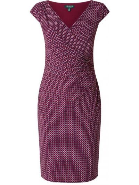 Sukienka mini kopertowa krótki rękaw z dekoltem w serek Lauren Ralph Lauren