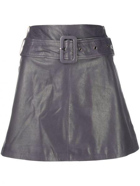 Серая с завышенной талией юбка мини с поясом из натуральной кожи Arma