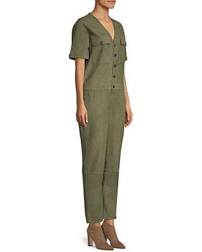 Открытый зеленый кожаный комбинезон с шортами Frame Denim