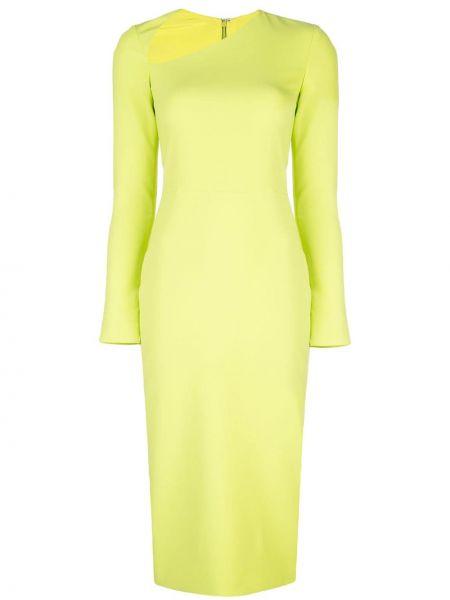 С рукавами облегающее зеленое платье миди на молнии Christian Siriano