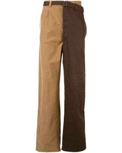 Свободные коричневые прямые брюки свободного кроя с карманами Maison Mihara Yasuhiro