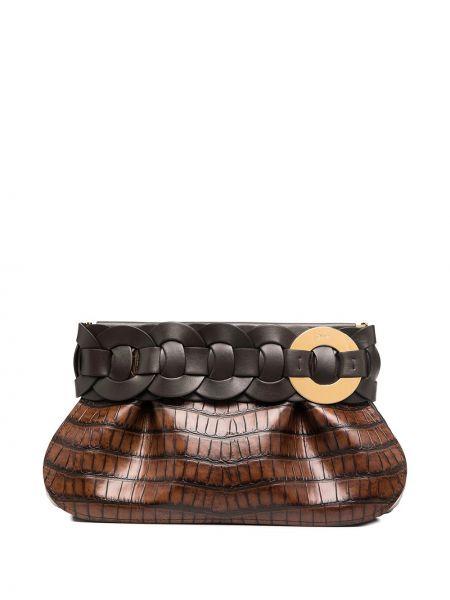 Skórzany brązowy torba kosmetyczna wytłoczony Chloe