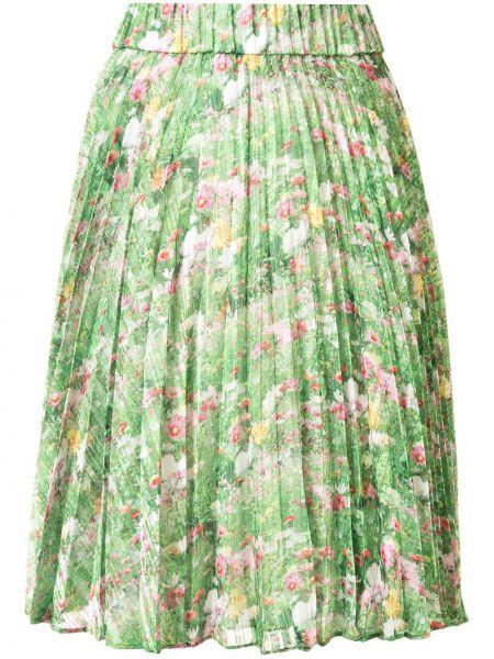 Плиссированная зеленая шелковая плиссированная юбка с поясом Romance Was Born