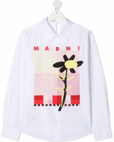 Хлопковая классическая футболка на пуговицах с воротником Marni Kids