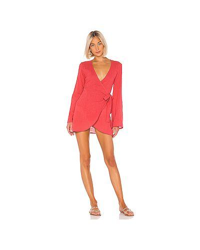 Платье мини с запахом красный Lpa