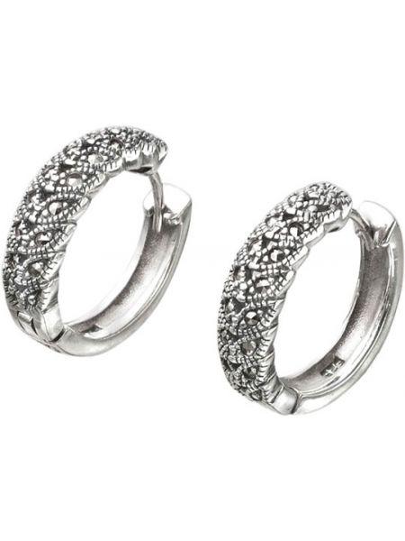 Серебряные серьги серьги-кольца с марказитом марказит