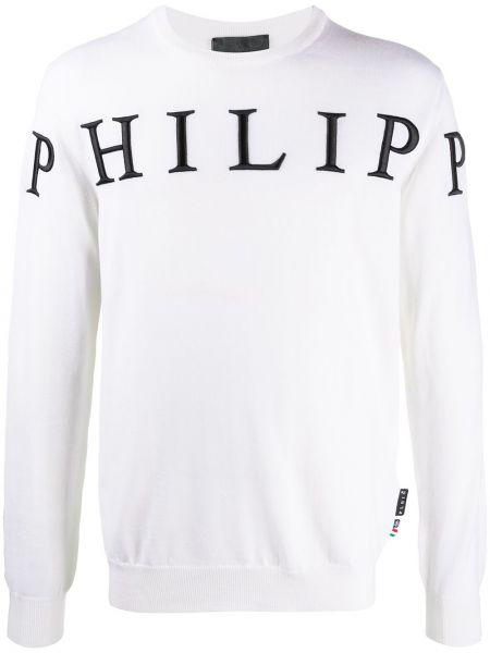 Wełniany biały pulower okrągły okrągły dekolt Philipp Plein