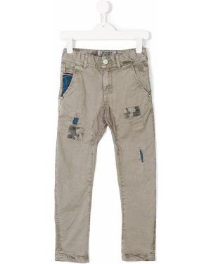 Jeansy bawełniane z paskiem z cekinami Vingino