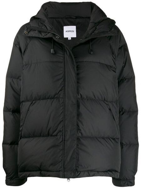 Куртка с капюшоном черная с карманами Aspesi