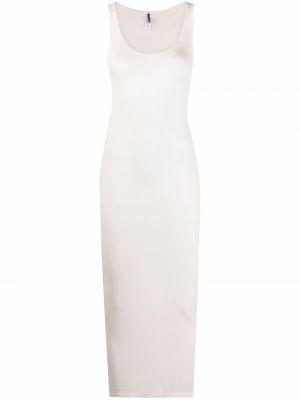 Prążkowana biała sukienka długa bez rękawów Maison Close