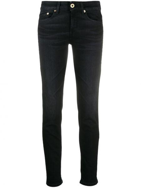 Хлопковые черные джинсы-скинни на молнии Dondup