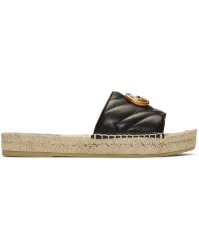 Skórzany czarny sandały okrągły nos z łatami Gucci