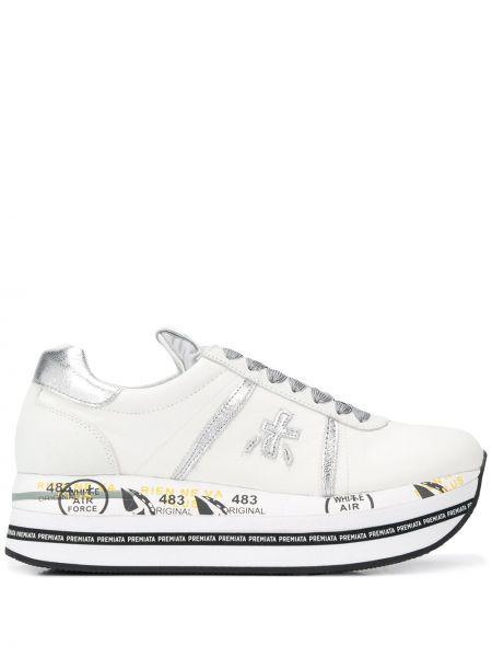 Белые кроссовки на каблуке на шнуровке Premiata