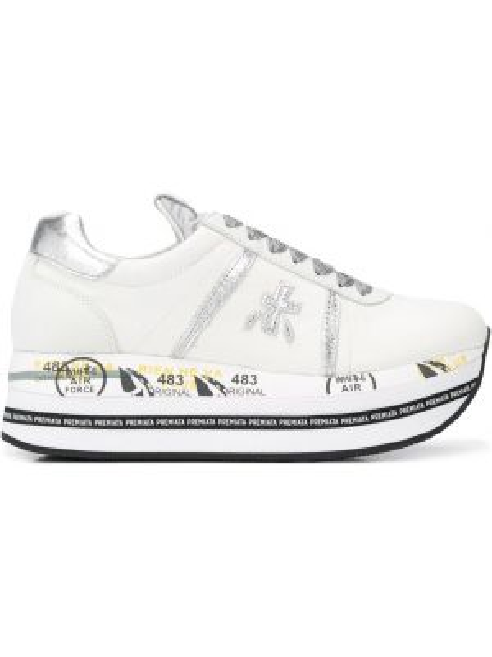 Серебряные кроссовки на платформе на шнуровке на каблуке с заплатками Premiata