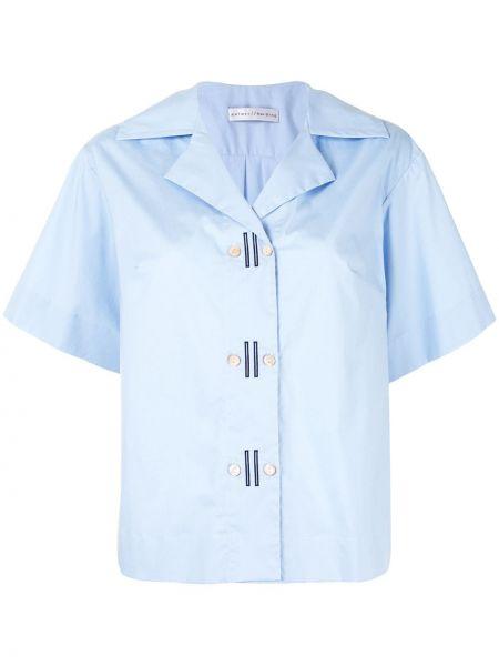 Синяя прямая рубашка с коротким рукавом с вышивкой на пуговицах Palmer / Harding