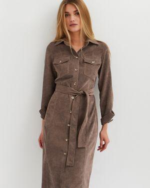Приталенное платье миди с карманами вельветовое Cardo
