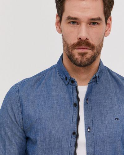 Niebieska koszula jeansowa bawełniana z długimi rękawami Calvin Klein