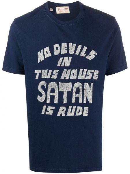С рукавами синяя прямая рубашка с короткими рукавами круглая Deus Ex Machina