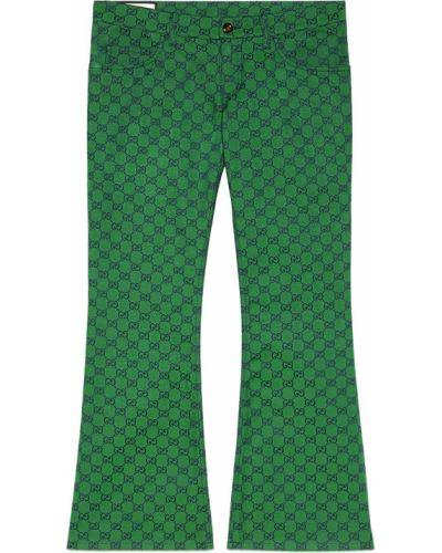 Bawełna zielony spodni przycięte spodnie Gucci