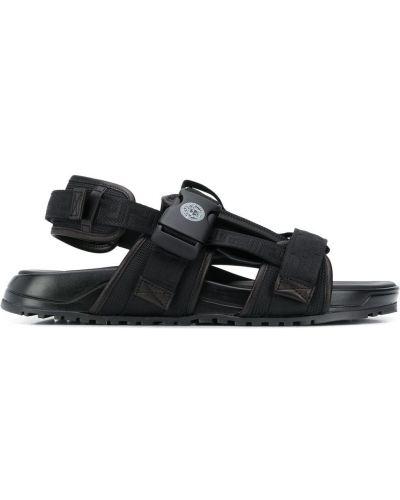 Otwarty z paskiem czarny skórzany sandały Versace