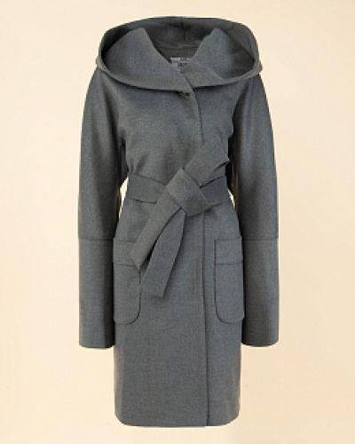 Драповое серое пальто с капюшоном каляев