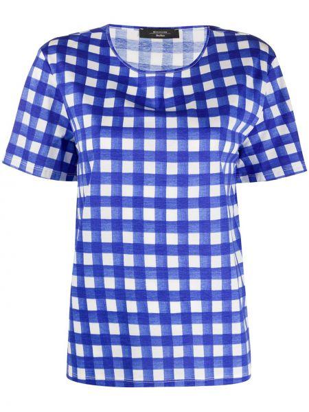 Niebieski t-shirt bawełniany krótki rękaw Weekend Max Mara