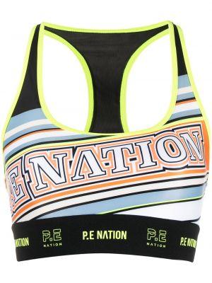 Czarny biustonosz sportowy bez rękawów z printem P.e Nation
