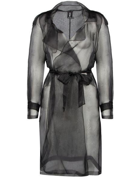 Длинный плащ шелковый черный Julia Davidan