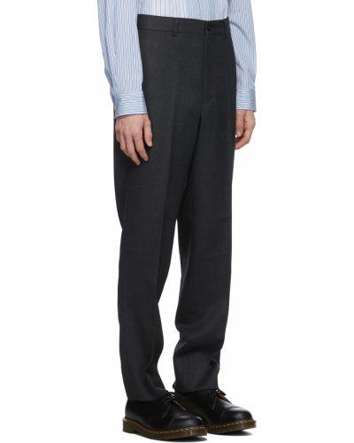Czarne spodnie w paski z paskiem Comme Des Garcons Homme Deux