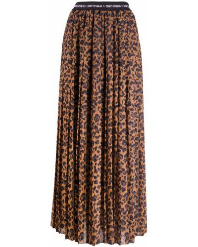 Юбка макси с завышенной талией - коричневая Marcelo Burlon. County Of Milan