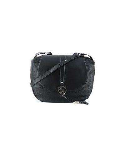 Черная кожаный сумка Armani Jeans