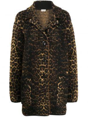 Коричневое шерстяное длинное пальто на пуговицах Saint Laurent