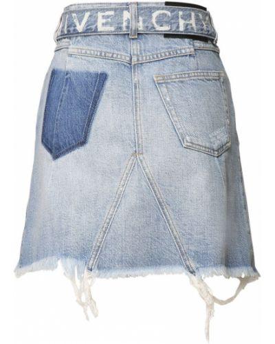 Хлопковая синяя с завышенной талией юбка мини с поясом Givenchy