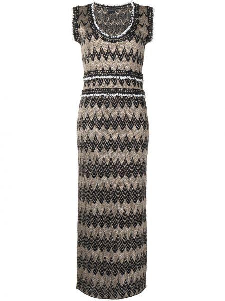 Шерстяное черное платье с вырезом Giambattista Valli