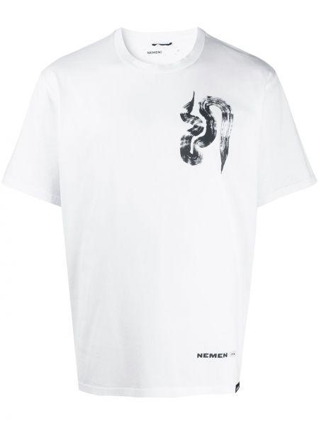 Biały t-shirt bawełniany z printem Nemen
