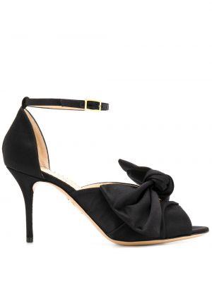 Czarne sandały skórzane na obcasie Charlotte Olympia