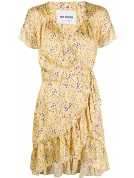 Желтое платье мини с запахом с V-образным вырезом с оборками Ava Adore