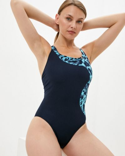 Синий слитный купальник Adidas