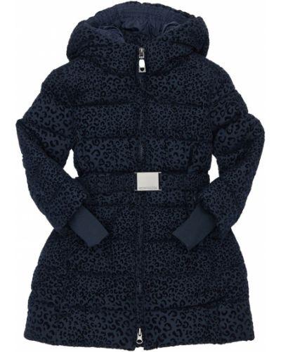 Нейлоновое пальто с капюшоном на молнии с подкладкой Monnalisa