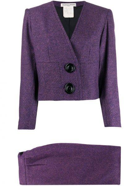 Фиолетовый костюмный костюм твидовый с V-образным вырезом Balmain Pre-owned