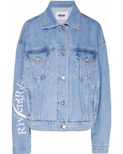 Джинсовая куртка хлопковая с надписью Msgm