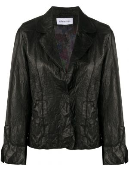 Черный приталенный кожаный пиджак Sylvie Schimmel