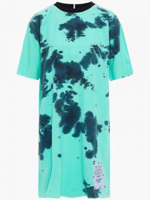 Шелковое платье мини мятное с заплатками Mcq Alexander Mcqueen