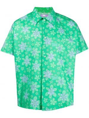Зеленая классическая рубашка с короткими рукавами с воротником Erl