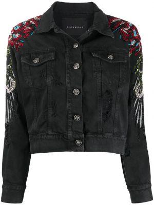 Джинсовая куртка с вышивкой - черная John Richmond