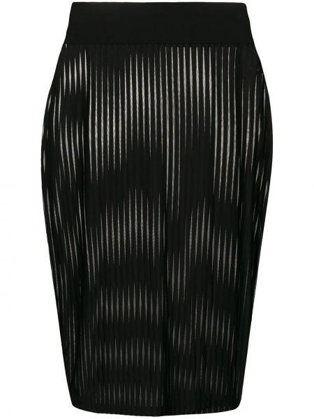 Облегающая ажурная черная юбка карандаш Maison Close