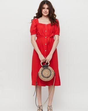 Приталенное льняное платье миди на пуговицах с разрезами по бокам Cardo
