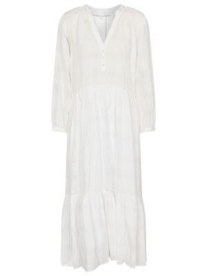 Ватное льняное белое платье миди Veronica Beard