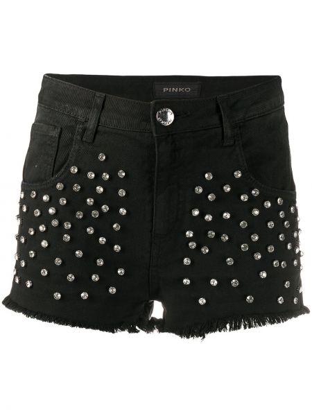 Черные джинсовые шорты с карманами со стразами Pinko