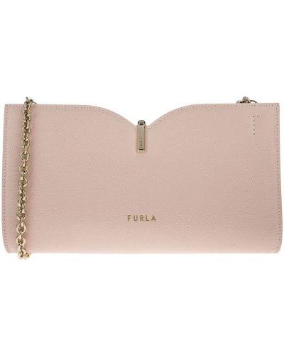 Кожаный розовый клатч Furla